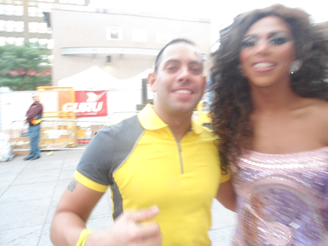 Felsite and Shangela Laqueefa Wadley from RuPaul's Drag Race at the Montreal's Pride Parade 2012