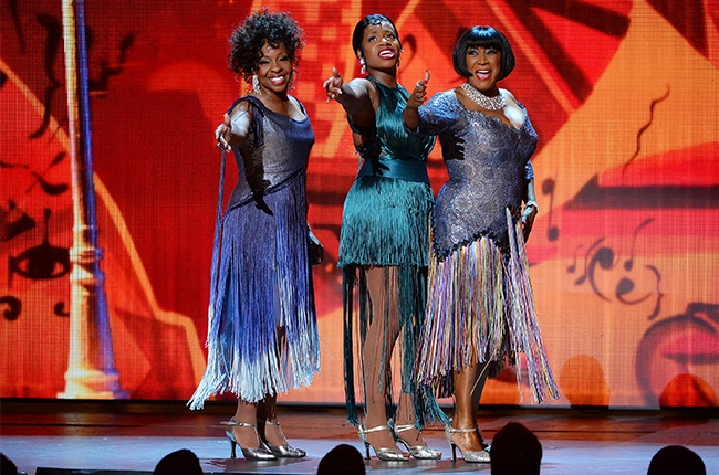 """Fantasia, Gladys Knight, and Patti LaBelle perform """"Sunny Side of the Street"""" from their musical After Midnight during the 2014 Tony Awards."""